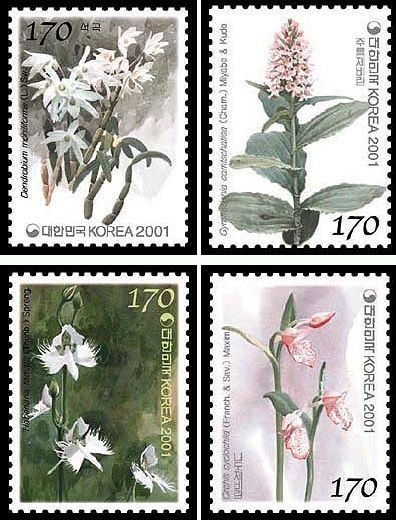 Name:  Korea - Orchid series 1st Aromatic stamps - 2001.jpg Views: 387 Size:  61.4 KB