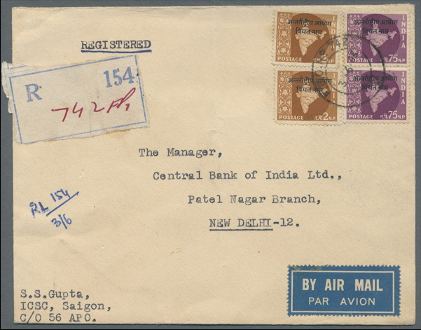Name:  Viet Stamp-VIETNAM 1963-Registered airmail cover from Saigon to New Delhi bearing even two copie.jpg