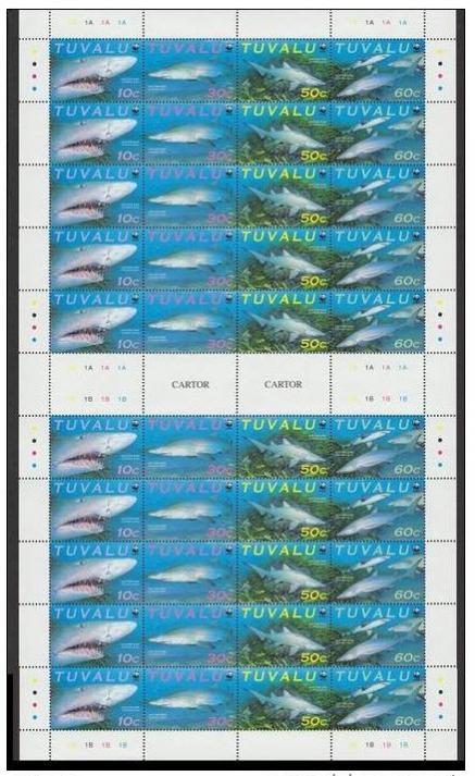 Name:  59-Tuvalu WWF Sand Tiger Shark Full Sheet of 10 sets 40 stamps with gutter-230K.jpg Views: 376 Size:  70.0 KB