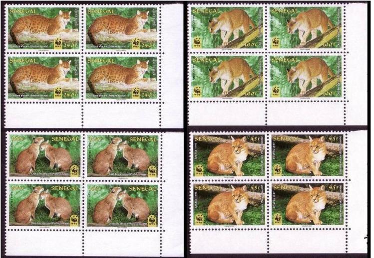Name:  62-Senegal WWF African Golden Cat 4 Corner Blocks with margins-210K.jpg Views: 372 Size:  101.5 KB