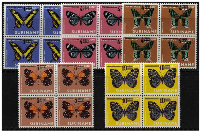 Name:  282- Suriname 1977 vlinder butterflies papillon overprint MNH block of 4-155k.jpg Views: 135 Size:  101.2 KB