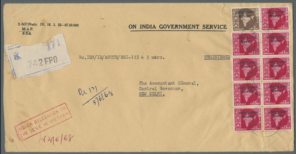 Name:  Viet Stamp-1968 VIETNAM Registered On India Government Service envelope with provisional 742 FPO.jpg Views: 353 Size:  68.8 KB