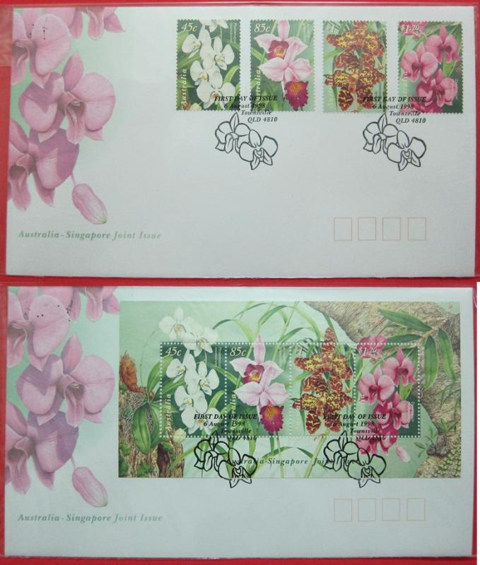 Name:  402-Australia FDC 1998 Orchids - Joint issue Singapore- 120K.jpg Views: 243 Size:  75.1 KB