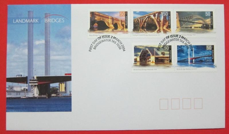 Name:  433-BRIDGES - AUSTRALIA - 2004 SET OF 5 ON FDC -45k.jpg Views: 228 Size:  40.9 KB